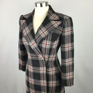 BCBG Vintage Long Wool Plaid Trench Coat Jacket